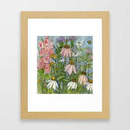 Garden Flowers Bee Blue Sky Nature Art Floral Watercolor Print Framed Art Print