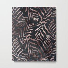 Rose Gold Leaves on Dark Gray Black Metal Print