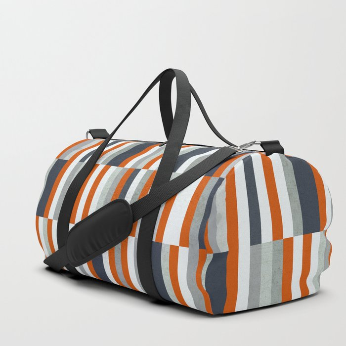 Orange, Navy Blue, Gray / Grey Stripes, Abstract Nautical Maritime Design by Duffle Bag