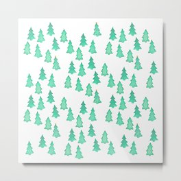 Christmas Tree Forest With One Decorated Tree Metal Print