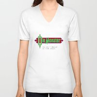 castlevania V-neck T-shirts featuring Castlevania - Die Monster. You Don't Belong In This World! by Aaron Campbell