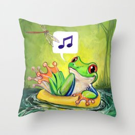 Lazy River Frog Throw Pillow
