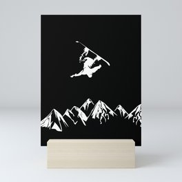 Rocky Mountain Snowboarder Catching Air Mini Art Print