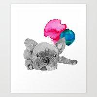 french bulldog Art Prints featuring French Bulldog  by Olivia James