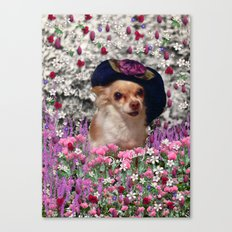 Chi Chi in Purple, Red, Pink, White Flowers, Chihuahua Puppy Dog Canvas Print
