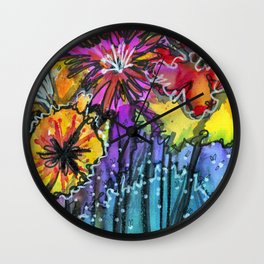 Flowers Only Fireflies See Wall Clock