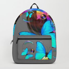 ABSTRACT NEON BLUE BUTTERFLIES & SOAP BUBBLES GREY COLOR Backpack