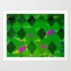 Argyle Frenzy in Emerald  Art Print