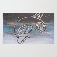 killer whale Area & Throw Rugs featuring Killer Whale  by JessaDee`Designs