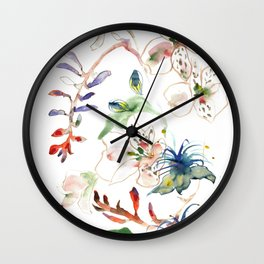 Loose lilies and blue flowers Wall Clock