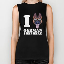 I Love German Shepherd modern v2 Biker Tank