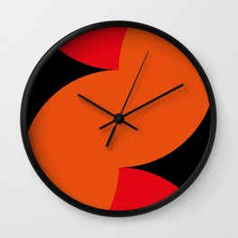 Sexy curves, red and orange, in a black Background. Wall Clock