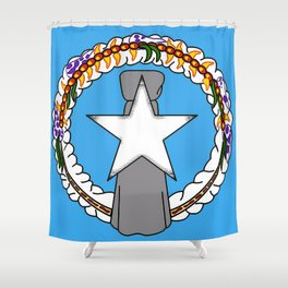 Northern Mariana Islands Flag with Map of Mariana Islands Shower Curtain