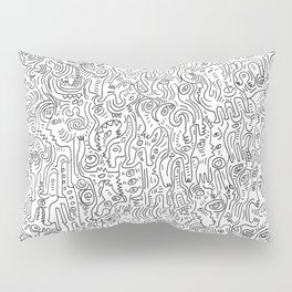 Graffiti Black and White Pattern Doodle Hand Designed Scan Pillow Sham
