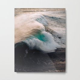 Ocean Wave breaking in the sunset – Water Photography Metal Print