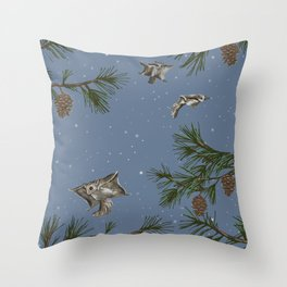 FLYING SQUIRRELS IN THE PINES (twilight) Throw Pillow