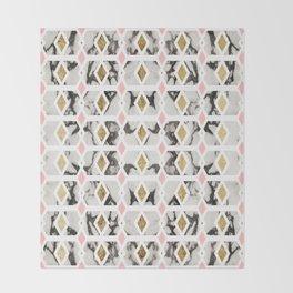 Modern Marble Gold Blush Pink Geometric Throw Blanket