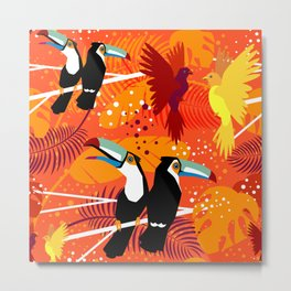 Pattern with Tropical Toucans and Birds in Love Metal Print