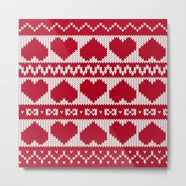 Fair Isle Valentines Day - Red Metal Print