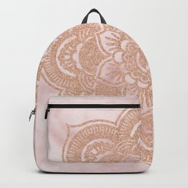 Rose gold mandala - pink marble Backpack