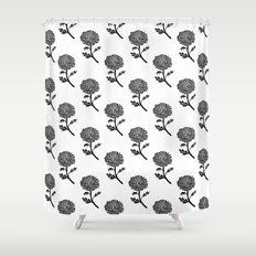 Scandi Shower Curtains Society - Black and white flower shower curtain