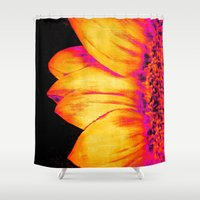 sunflower Shower Curtains featuring Sunflower Pink Yellow by PureVintageLove