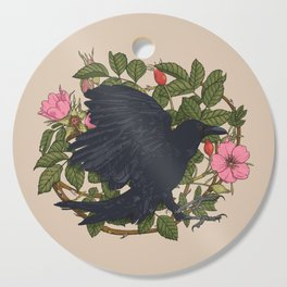 Raven and roses Cutting Board