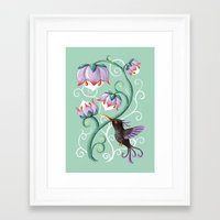 hummingbird Framed Art Prints featuring Hummingbird by Freeminds