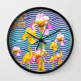 Colorful Iris Water Garden Art Pattern Wall Clock
