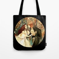 labyrinth Tote Bags featuring Labyrinth by Abigail Larson