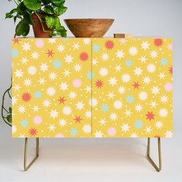 Vintage Christmas Wrapping Paper Pattern Design Mustard Stars & Dots Credenza