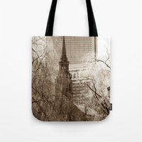 boston Tote Bags featuring Boston by Raymond Earley