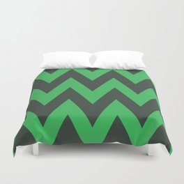Green and black waves - zigzag pattern design Duvet Cover