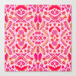 Folk Art Flowers Pattern - Red and Pink Canvas Print