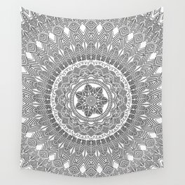 Black and White Feather Mandala Boho Hippie Wall Tapestry