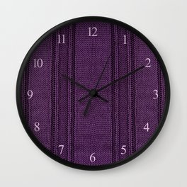 Purple striped sweater cloth texture abstract Wall Clock