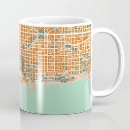 Barcelona city map orange Coffee Mug