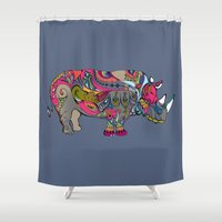 rhino Shower Curtains featuring Rhino by Green Girl Canvas