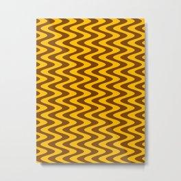 Amber Orange and Chocolate Brown Vertical Waves Metal Print