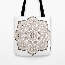 Beige & White Mandala Tote Bag