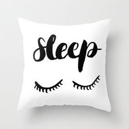 Sleep with Eyelashes Throw Pillow