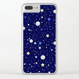 Universe pattern; Moon, Stars and Neptune Clear iPhone Case