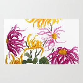 yellow and purple chrysanthemum watercolor Rug
