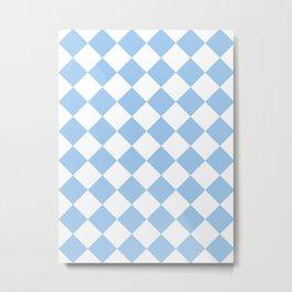 Large Diamonds - White and Baby Blue Metal Print