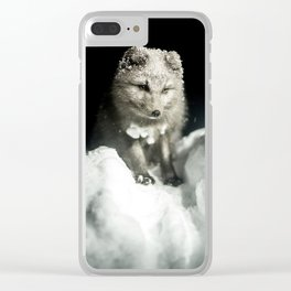 Baby wolf in the snow #animal #photography Clear iPhone Case