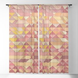 Triangle Pattern no.4 Warm Colors Red and Yellow Sheer Curtain