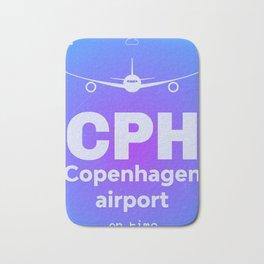 CPH Copenhagen airport blue Bath Mat