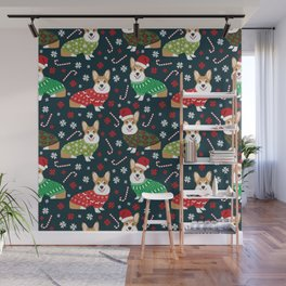 Corgi christmas sweater ugly sweater party with welsh corgis dog lovers dream christmas Wall Mural
