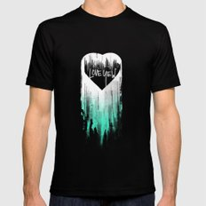 LOVE YEW Mens Fitted Tee Black LARGE