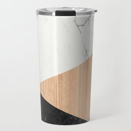 Marble and Wood Abstract Travel Mug